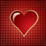 Coração dourado vermelho em uma reticulação do inclinação Imagens de Stock Royalty Free