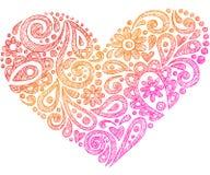 Coração esboçado do Doodle do caderno do Henna de Paisley Fotos de Stock Royalty Free