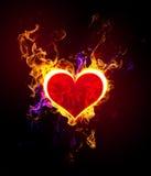 Coração flamejante Fotografia de Stock