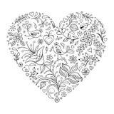 Coração floral dos Valentim Fotos de Stock