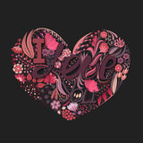 Coração floral Flor criativa tirada mão Fundo do cumprimento no dia do ` s do Valentim Festa do amor feriado Foto de Stock Royalty Free