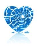 Coração gelado azul quebrado Foto de Stock Royalty Free