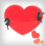 Coração mágico vermelho com fadas pequenas Fotografia de Stock Royalty Free