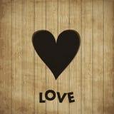 Coração na madeira,   Fotos de Stock
