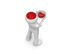 Coração no saucer do brainpan - tome meus coração e cérebro Foto de Stock Royalty Free