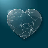 Coração quebrado feito do vidro Imagem de Stock Royalty Free