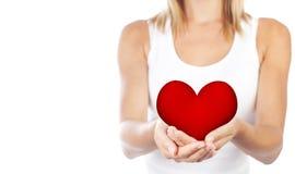 Coração saudável da terra arrendada da mulher, foco seletivo Imagem de Stock