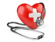 Coração vermelho com cruz branca e um estetoscópio Imagens de Stock