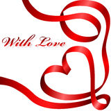 Coração vermelho da fita Fotos de Stock Royalty Free