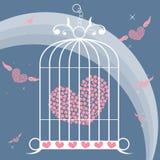 Coração voado no vetor da gaiola de pássaro Fotografia de Stock Royalty Free