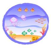 Coraux de poissons et méduses - océan Photo libre de droits