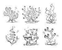 Coraux de vintage et algues à disposition dessinés, griffonnage, ensemble de vecteur de style de croquis illustration de vecteur