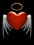 Corazón-ángel rojo con las alas aisladas en fondo negro Imágenes de archivo libres de regalías