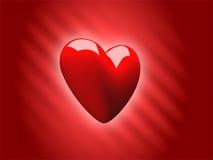 Corazón 3D del amor de la tarjeta del día de San Valentín Foto de archivo libre de regalías