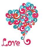 Corazón abstracto con remolinos en el fondo blanco Imagenes de archivo