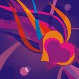 Corazón abstracto de la ilustración del vector y una llama Imagenes de archivo
