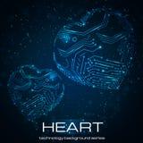 Corazón abstracto de la tecnología. Imagen de archivo