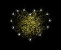 Corazón abstracto de oro del vector con la luz Ame el polvo de oro con un resplandor Elemento del diseño aislado en fondo oscuro stock de ilustración