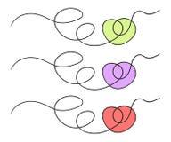 Corazón abstracto exhausto Garabato del estilo del bosquejo ejemplo del vector, fondo aislado stock de ilustración