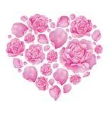 Corazón abstracto floral del día de tarjeta del día de San Valentín del santo de las rosas de la acuarela Imagen de archivo