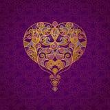 Corazón adornado del vector en la línea estilo del arte ilustración del vector