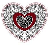 Corazón adornado dibujado mano en estilo del zentangle Foto de archivo