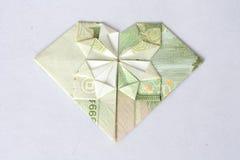 Corazón agradable del dinero fotografía de archivo libre de regalías