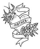 Corazón aislado del tatuaje con la cinta, el trago, las flores y la madre de la palabra Ejemplo blanco y negro para el día de la  ilustración del vector