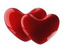 Corazón aislado dos en un fondo blanco. Foto de archivo libre de regalías