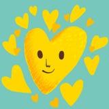 Corazón amarillo Imagen de archivo