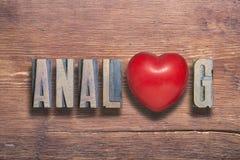 Corazón análogo de madera Foto de archivo libre de regalías