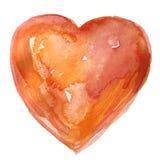 Corazón anaranjado pintado a mano de la acuarela Foto de archivo