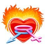 Corazón ardiente con los símbolos masculinos y femeninos Imágenes de archivo libres de regalías