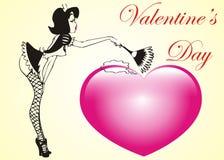 Corazón atractivo de la tarjeta del día de San Valentín stock de ilustración