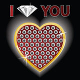 Corazón atractivo del oro y de los diamantes Foto de archivo libre de regalías