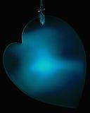 Corazón azul colgante Fotografía de archivo