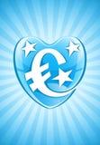 Corazón azul con símbolo y las estrellas de dinero en circulación euro Imagen de archivo libre de regalías