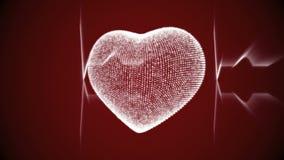 Corazón blanco con el cardiograma del latido del corazón metrajes