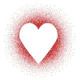 Corazón blanco en brillos rojos Imagen de archivo