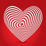 Corazón blanco en fondo rojo Ilusión óptica del volumen tridimensional 3D Imagen de archivo libre de regalías
