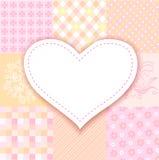 Corazón blanco. remiendo romántico del fondo Foto de archivo