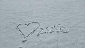 corazón blanco simple de la nieve 2018 Imagen de archivo libre de regalías