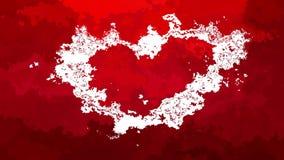 Corazón blanco video manchado animado abstracto del lazo inconsútil del fondo en color rojo almacen de metraje de vídeo