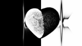 Corazón blanco y negro con el cardiograma del latido del corazón almacen de metraje de vídeo