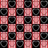 Corazón blanco y negro en los cuadrados Imagenes de archivo