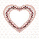 Corazón bordado rosa imagenes de archivo