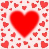 Corazón borroso grande centrado afilado con los corazones stock de ilustración