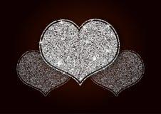Corazón brillante blanco de plata del brillo Fotografía de archivo libre de regalías
