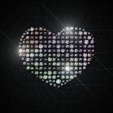 Corazón brillante de cristales en un fondo negro ilustración del vector