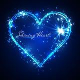 Corazón brillante del azul del vector del brillo stock de ilustración